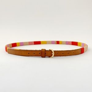 J. Crew Multicolor Threaded Leather Skinny Belt